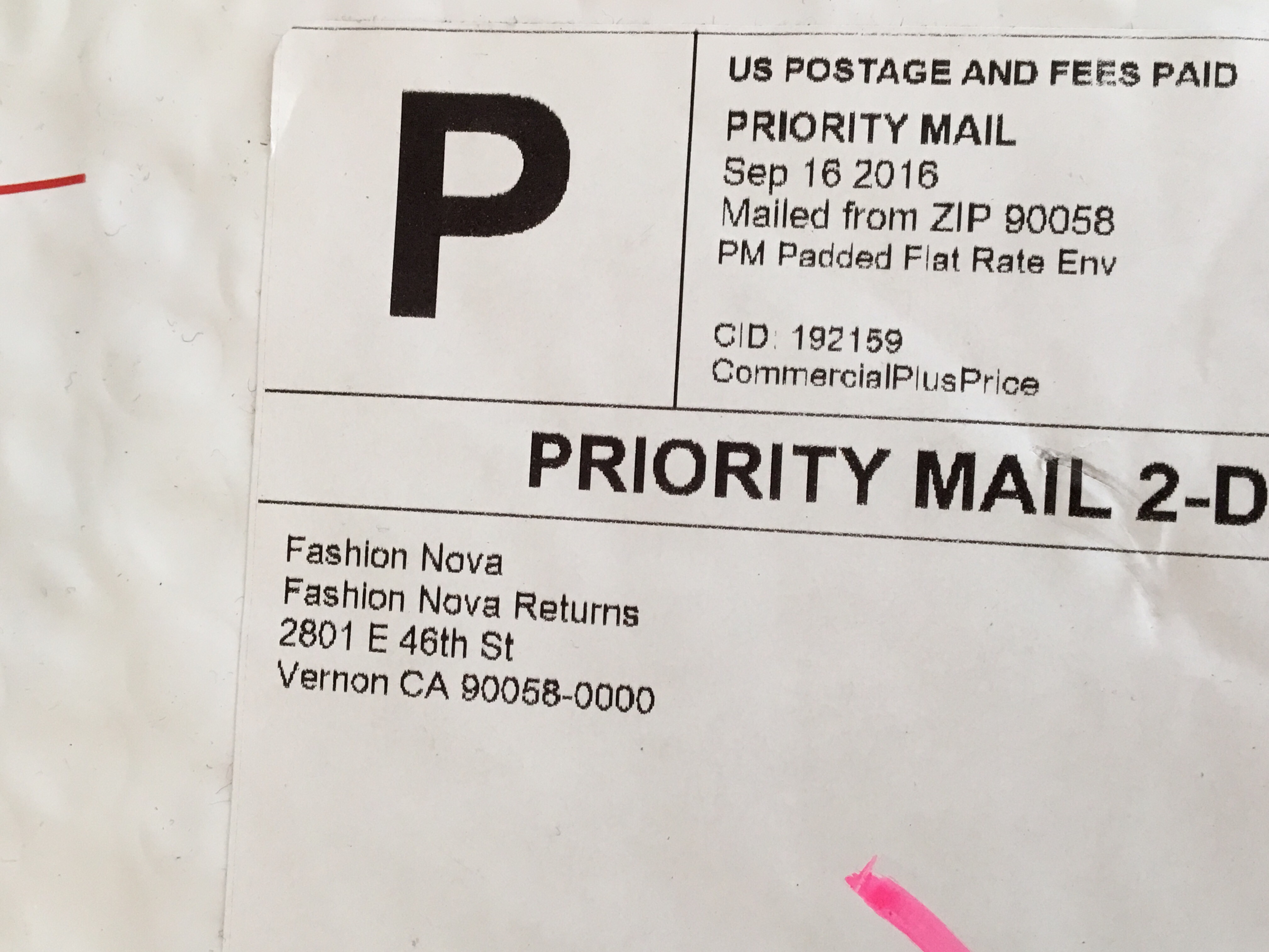 This is a photo of Clever Fashion Nova Return Shipping Label
